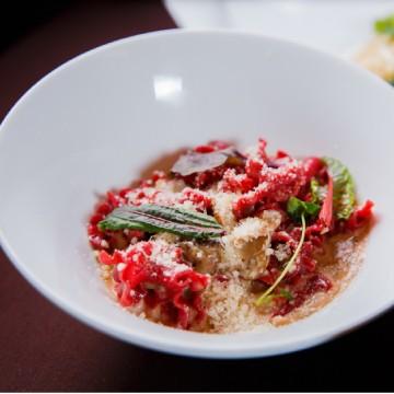 Beetroot Gigli with mushroom sauce